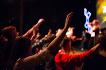 raised hands, worship service, worship, congregation, church