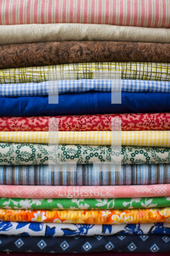 Stack of colorful fabric.