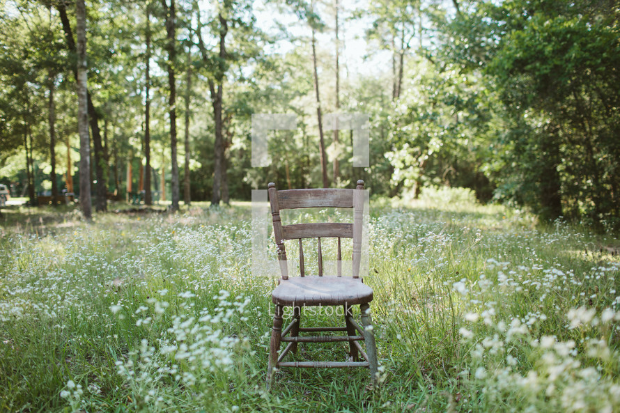 isolated chair in a meadow