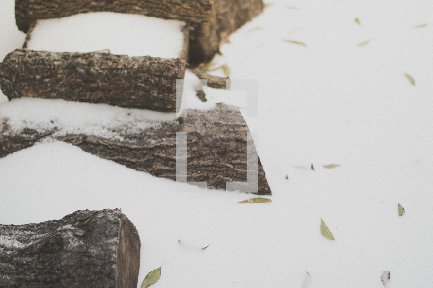 Snow covering a pile of firewood