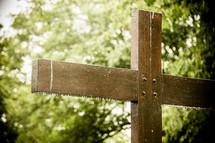 wet wood cross outdoors