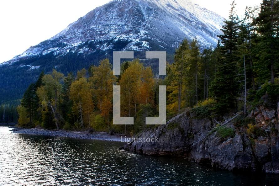 mountain peak and river