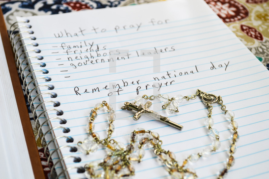 list of What to pray for in a notebook