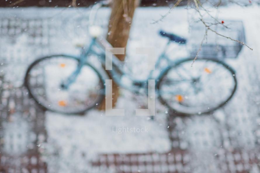 snow on a bike