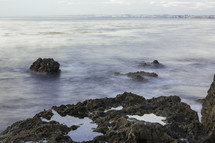 sea mist on a rocky shore