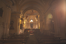 Interior of a Catholic cathedral