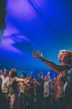 praising God at a contemporary worship service