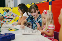 children with coloring books