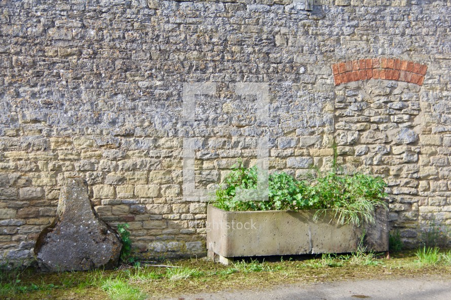 planter in front of a stone wall