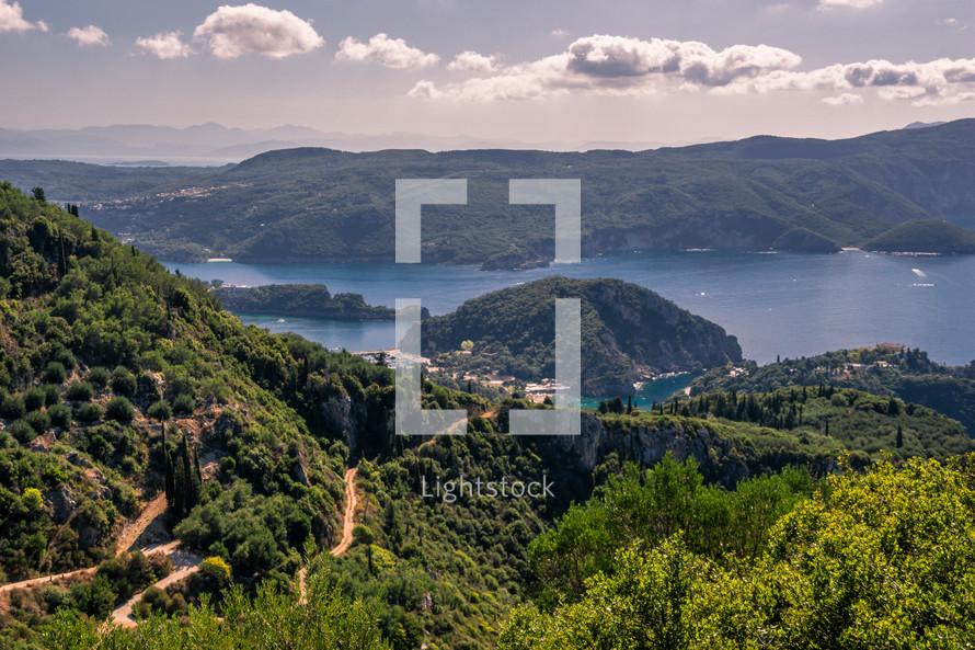 mountainous landscape and shoreline