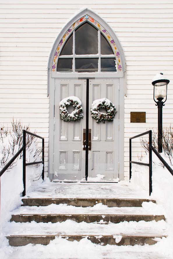 snow on church steps