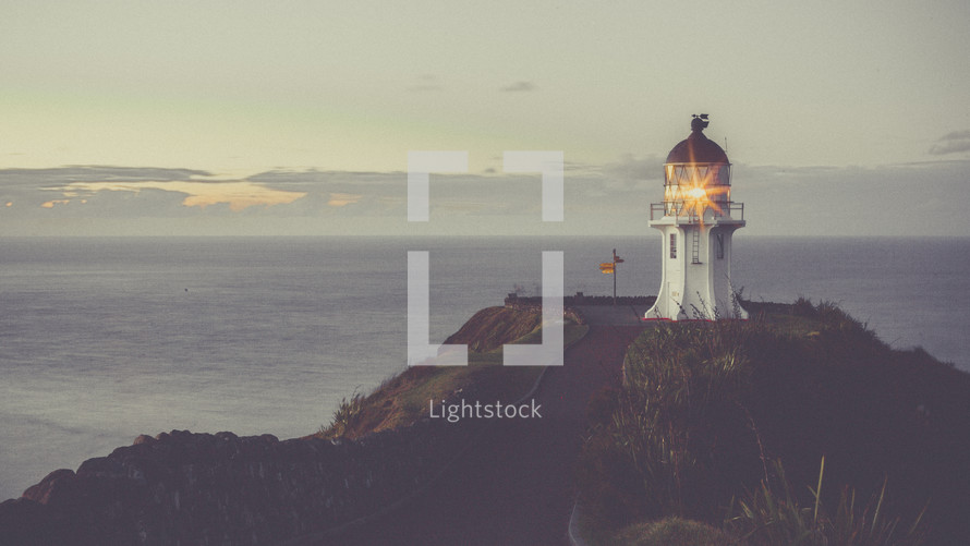 light on a lighthouse