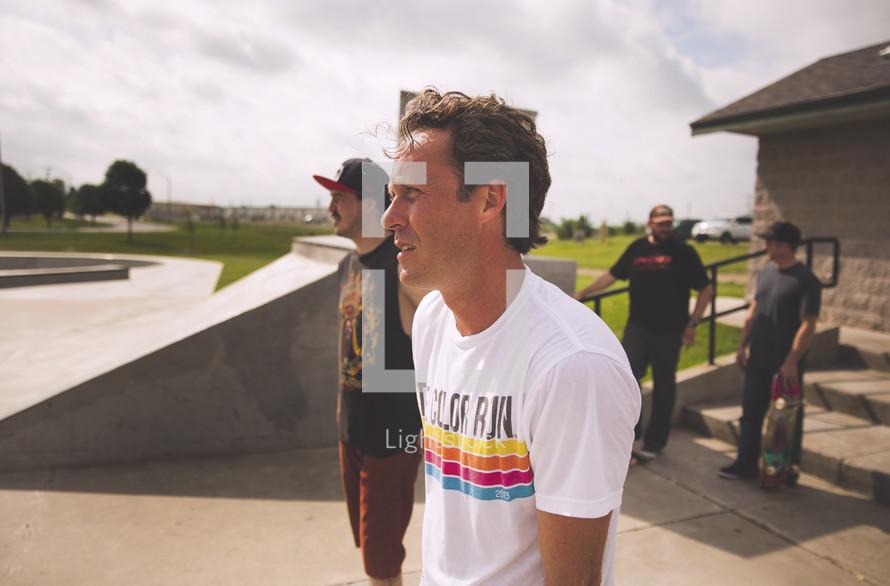 men at a skateboarding park