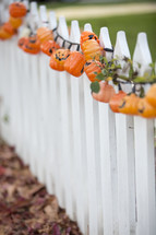 pumpkin lights on a fence