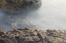 mist over sea rocks