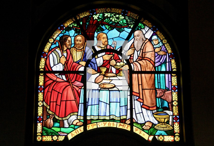 Abraham hosting three angels