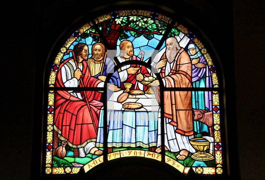 Abraham hosting three angels
