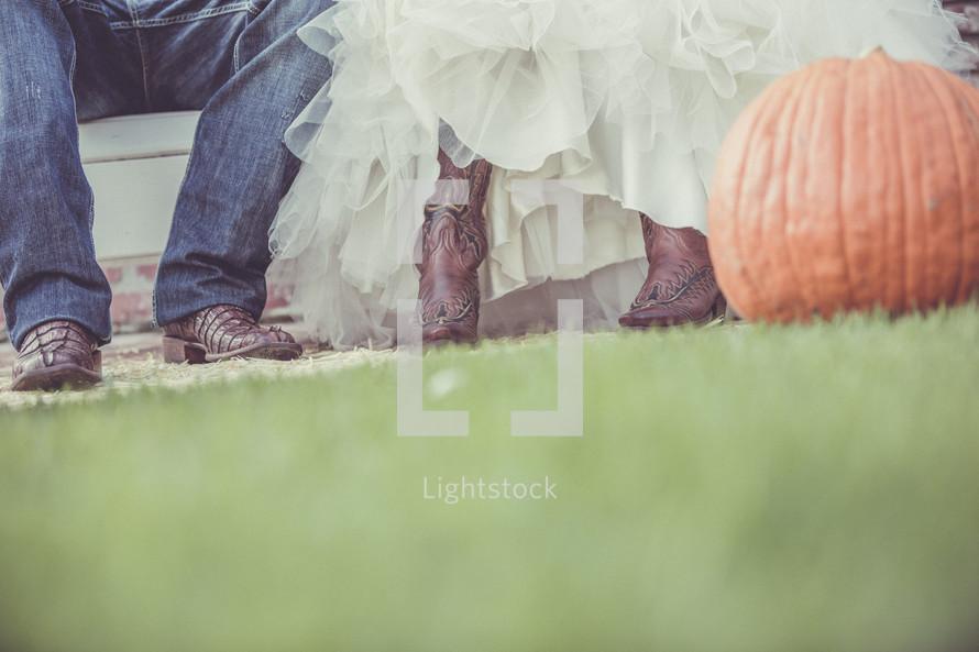 cowboy boots and pumpkins