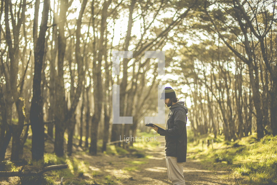 a man standing in a forest reading a Bible