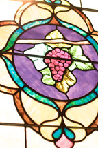 grapes on the vine stained glass window