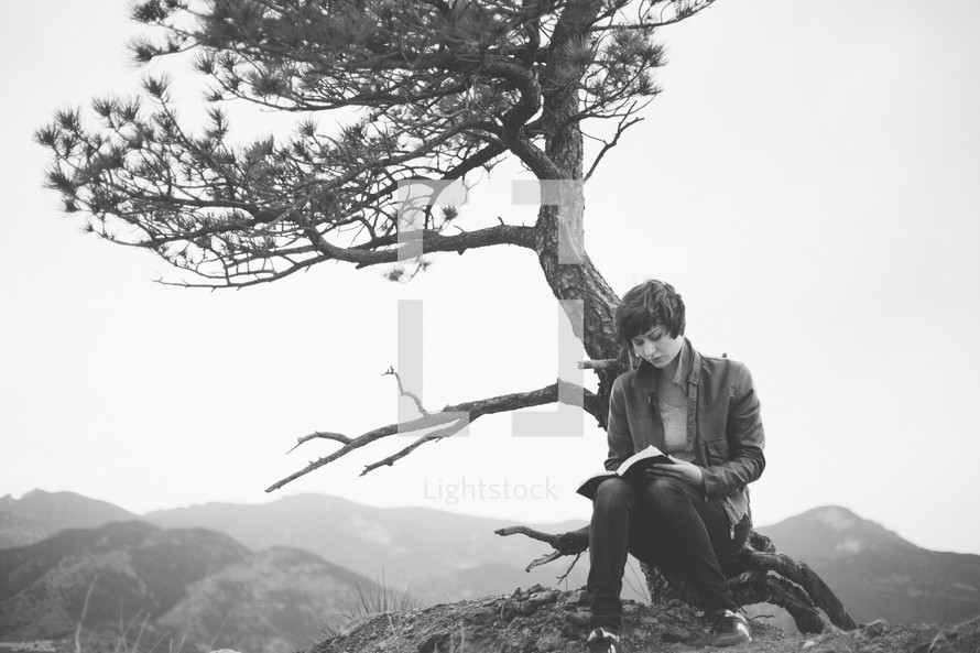 Woman sitting on a hill, leaning against a tree, reading the Bible.