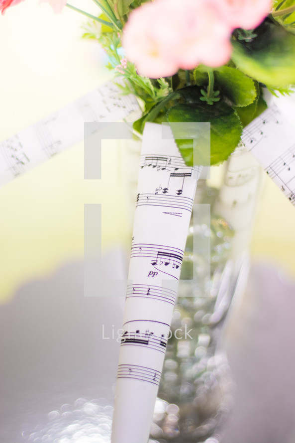 Rolled Up Sheet Music And A Vase Of Flowers Photo By Ken Oyerly