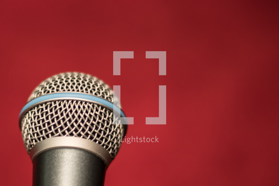 microphone on a red background