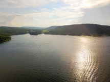 aerial view over a lake