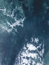 aerial view over sea water