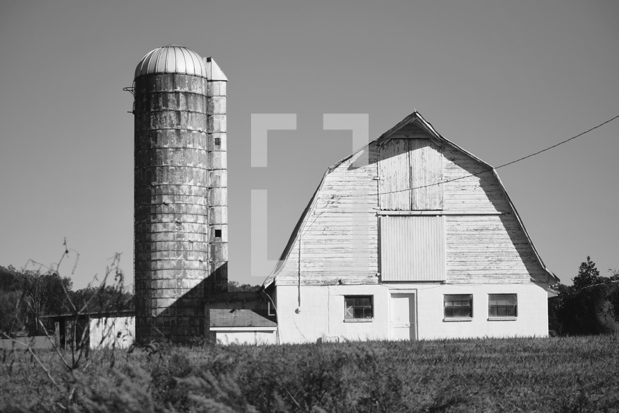 Old Barn And Silo In Black White