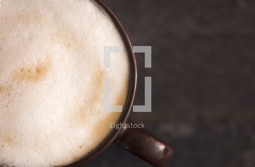 latte on a slate table