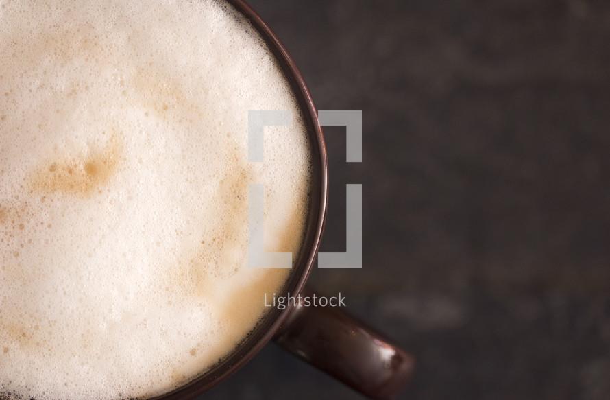 latte on a slate table