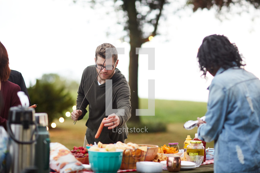 food at an outdoor party in fall
