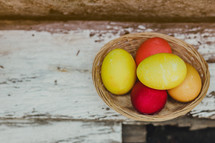 Easter basket of dyed Easter eggs