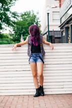 teen girl with purple hair