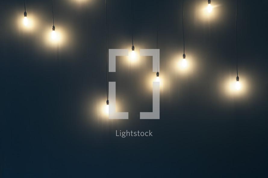 Edison lightbulbs hanging on the wall
