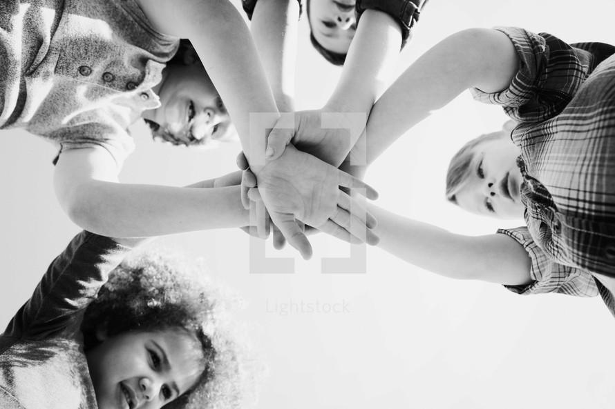 children in group prayer