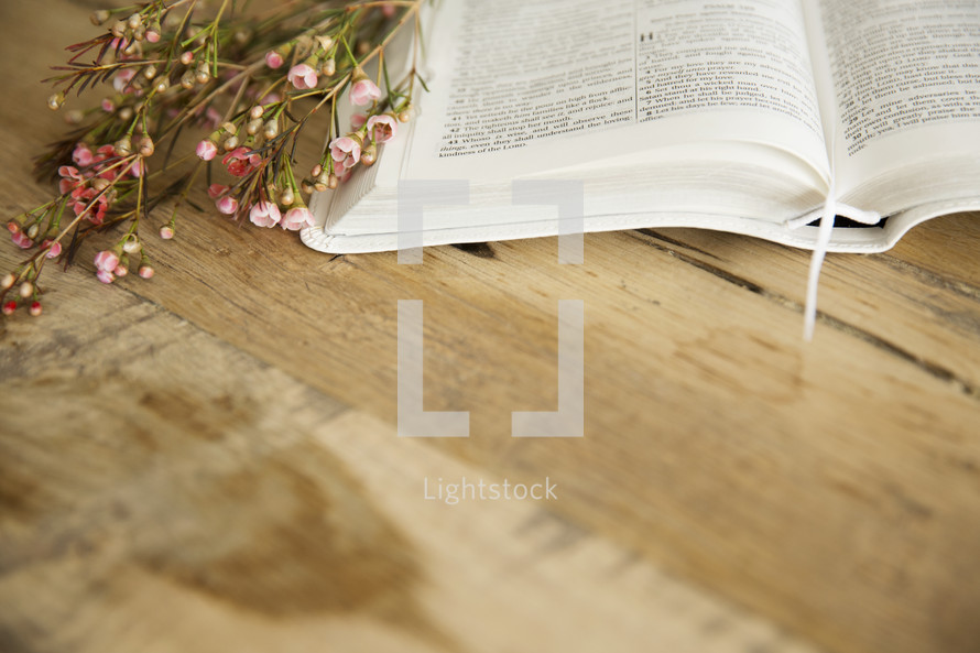 open Bible and flowers on a wood table