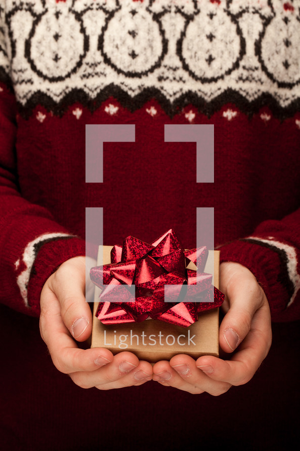 cupped hands holding a gift box for Christmas