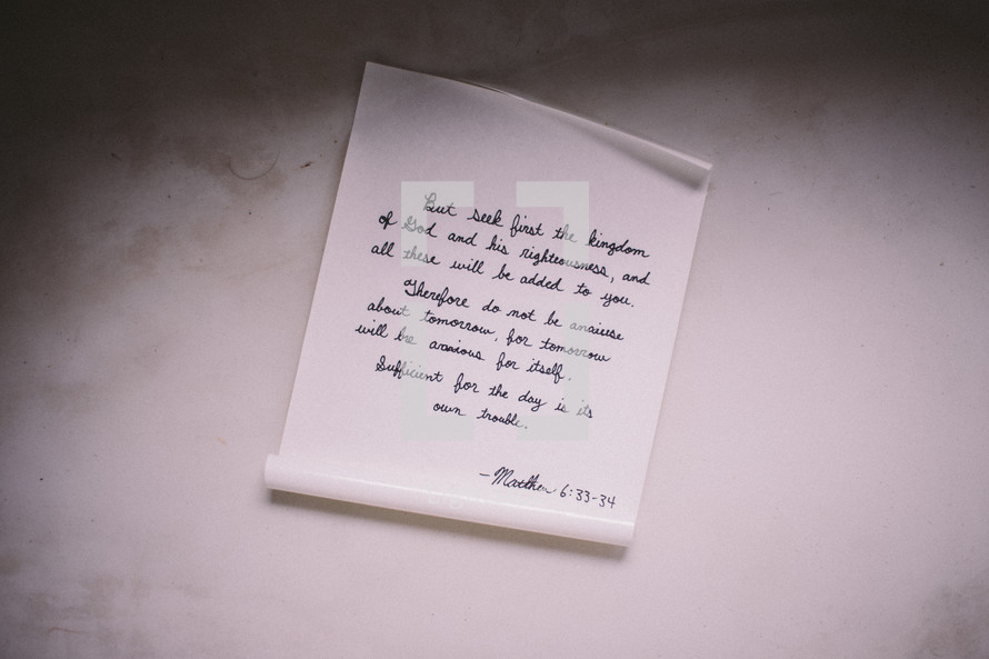 curled up letter Matthew 6:33-34