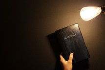 Shining an Edison light on a Bible.