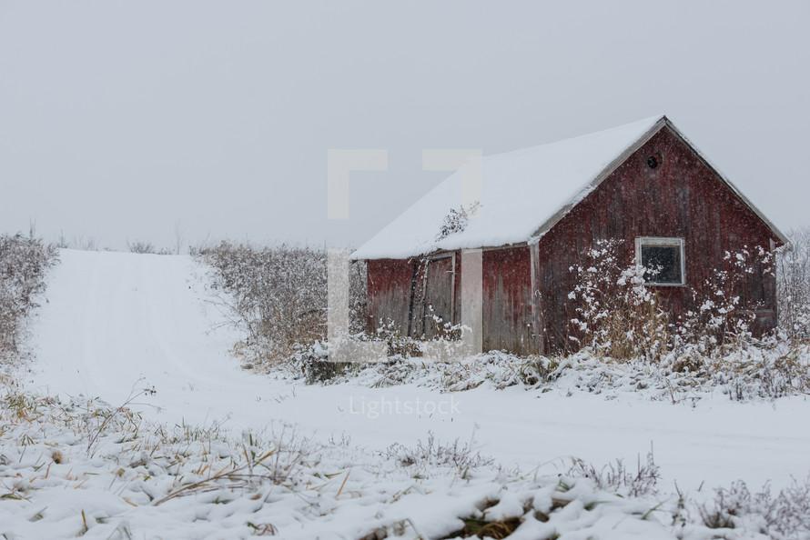 snow on a barn