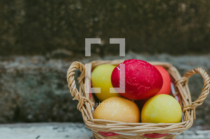 basket of dyed Easter eggs