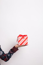 arm holding a wrapped gift
