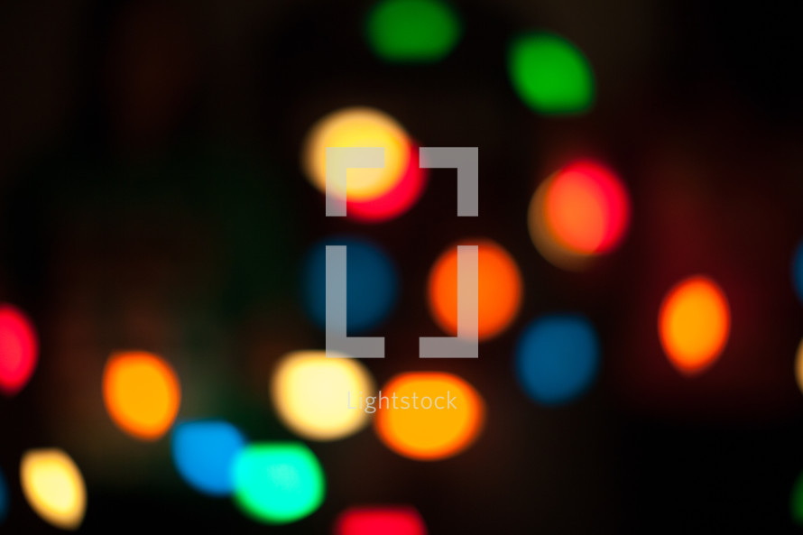 bokeh glowing colorful Christmas lights