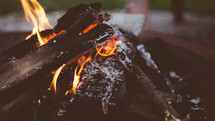 burning wood in a campfire