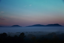 fog in a Tennessee valley at sunrise