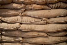 stacked of burlap sacks