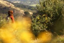 a woman on a hike