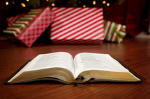 an open Bible on the floor in front of a decorated Christmas tree